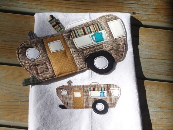 2012 Camping Potholder Series, Vintage Camper Trailer, Potholder and matching flour Sack towel