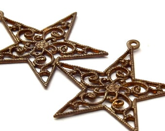 Vintaj Natural Brass Star Filigree Charm - Pendant