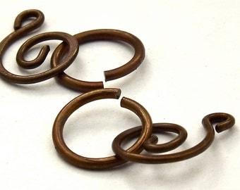 Vintage Patina Brass Swirl Clasp Sets