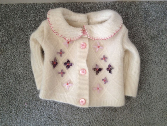 White Felted Baby Sweater with Bead Flowers Size 12 Months