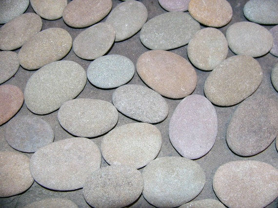 50 River Rocks All Natural Flat Oval Nice Size For Your Crafts
