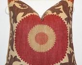 Decorative Pillow Cover - Suzani - Brown - Dark Red - Rust - Tan - Fahri in Clove