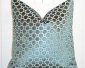 Decorative Pillow Cover - Turquoise - Blue - Velvet - Robert Allen - Dot Geometric