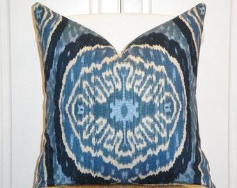 Decorative Pillow Cover - Square Pillow or Lumbar - Duralee - IKAT - Throw Pillow - Accent Pillow - Blue Denim
