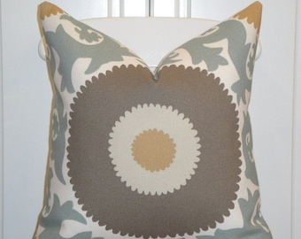 Decorative Pillow Cover - Indoor/Outdoor - Blueish Grey - Brown - Suzani - Honey Tan