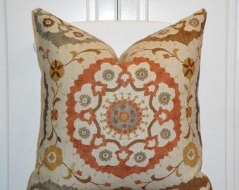 Decorative Pillow Cover - Suzani - Orange Rust - Golden Brown - Gray - Charcoal - EURO SHAM