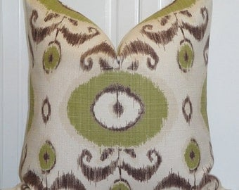 Decorative Pillow Cover - Throw Pillow - Accent Pillow - Pear Green - Brown - Natural - IKAT