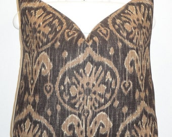 Decorative Pillow Cover - Ikat - Throw Pillow - Accent Pillow - Chocolate - Brown - BOTH SIDES Or Front Only