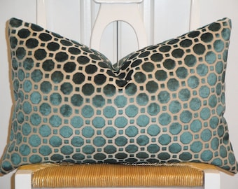 Decorative Pillow Cover - Accent Pillow - Throw Pillow - Lumbar Pillow - Turquoise - Blue - Velvet