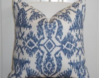 Decorative Pillow Cover - 18x18, 20x20, 22x22, 24x24 - IKAT - Blue - Light blue - White
