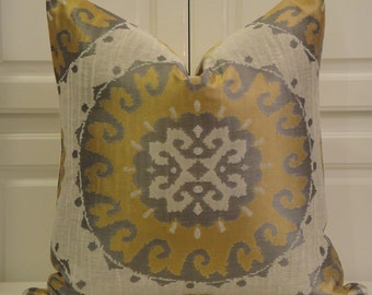 Decorative Pillow Cover - Gold - Natural - Gray - Suzani - Medallion - Accent Pillow - Sofa Pillow
