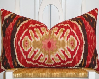 Decorative Pillow Cover -Duralee Masala Red - IKAT - Red - Brown - Tan