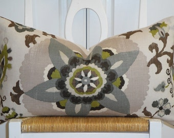 Beautiful Decorative Pillow Cover  - Floral - Suzani - Steel Blue - Olive Green - Gray - Pewter - Black