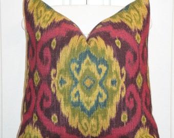Decorative Pillow Cover  - IKAT - Throw Pillow - Accent Pillow - Purple - Plum - Teal - Fuschia - Mastard Yellow - Toss Pillow