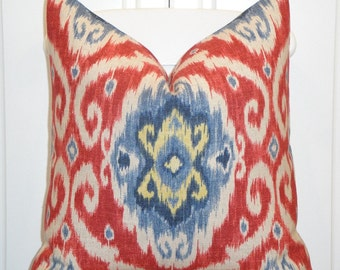 IKAT - Decorative Pillow Cover - Red - Blue - Yellow - Navy - Iman Home