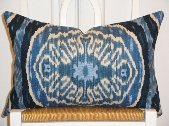 Decorative pillow cover 12 x 18 inch designer fabric ikat - Fabric for throw pillows ...