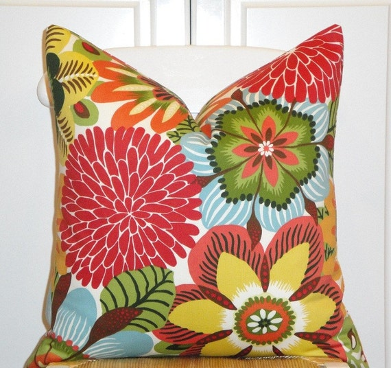 Beautiful Decorative Pillow Cover - 20x20 - Bold and Bright - Florals Print ON BOTH SIDES - Throw Pillow - Accent Pillow