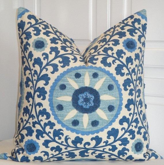 Beautiful Decorative Pillow Cover - 22 x 22 - TRIBAL THREAD AZURE - Throw Pillow - Accent Pillow - Suzani Pillow - Blue