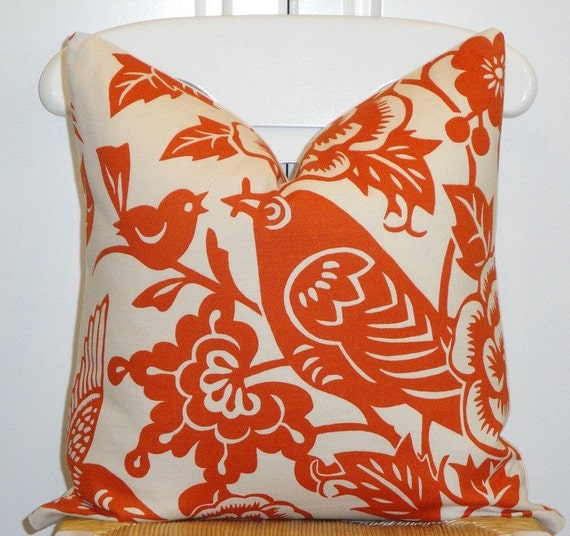 Decorative Pillow Cover 18 x 18 INCH - Designer Thomas Paul for Duralee - Throw Pillow - Accent Pillow -Tangerine