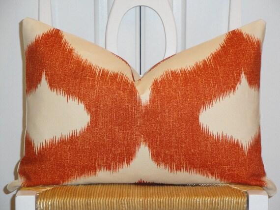 Decorative Pillow Cover - 12x18 - Throw Pillow - Accent Pillow - IKAT - Orange - Clay - Lumbar Pillow