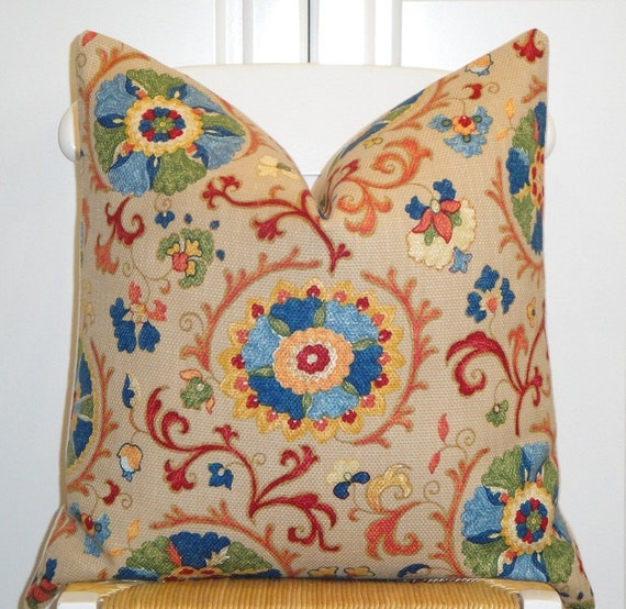 Beautiful Decorative Pillow Cover 20 x 20 INCH - Designer Fabric - Suzani - Throw Pillow - Accent Pillow - Chai - Red - Blue - Olive Green