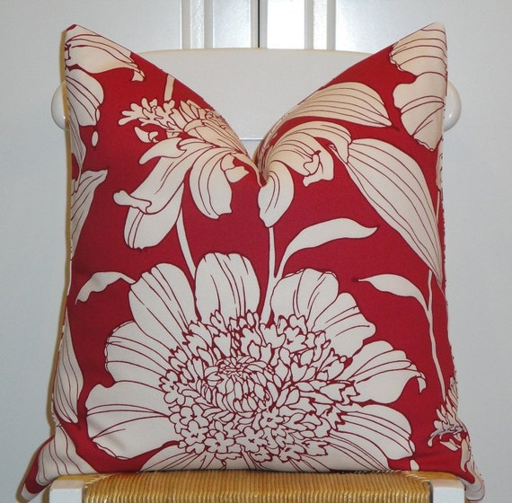 DOUBLE SIDED - Duralee - Decorative Pillow Cover  -  Raspberry - White - Floral