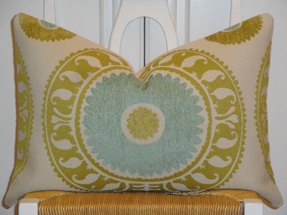 Decorative Pillow Cover - 13.5 x 20 or 13.5 x 24 - Suzani - Citrine - Aqua - Ivory