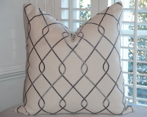 Decorative Pillow Cover - 20 x 20 - Accent Pillow - Throw Pillow - Grey -  Embroidery On BOTH SIDES