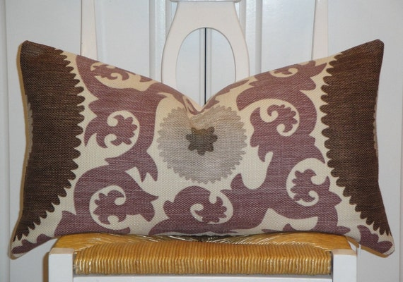 "Beautiful Decorative Pillow Cover - 12"" x 22"" - Suzani - Throw Pillow - Accent Pillow - Purple - Gray - Walnut Brown - Grape"