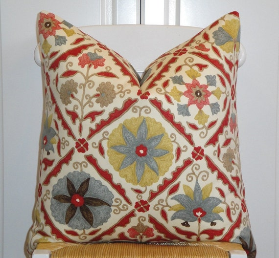 BOTH SIDES - Beautiful Decorative Pillow Cover - Floral - Red - Yellow - Brown - Teal - Tan