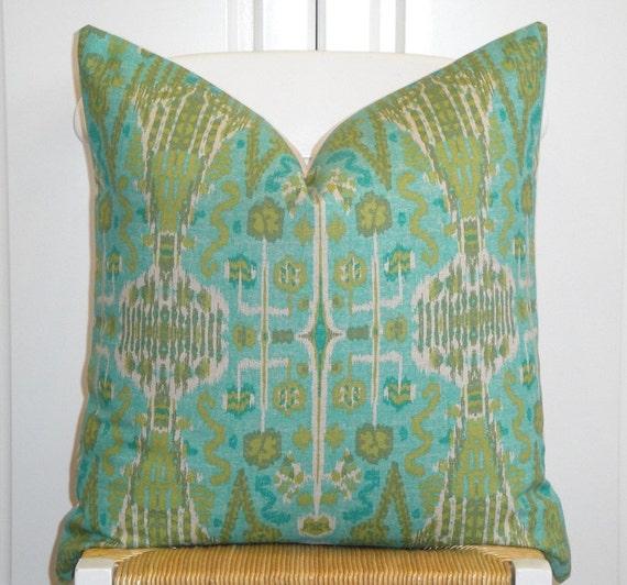 Decorative Pillow Cover - 20x20 - Throw Pillow - Accent Pillow - Aqua - Blue - Olive Green - IKAT Pillow