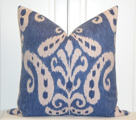 Decorative Pillow Cover - 22 x 22 - IKAT - Throw Pillow - Accent Pillow - Blue - Natural - Toss Pillow