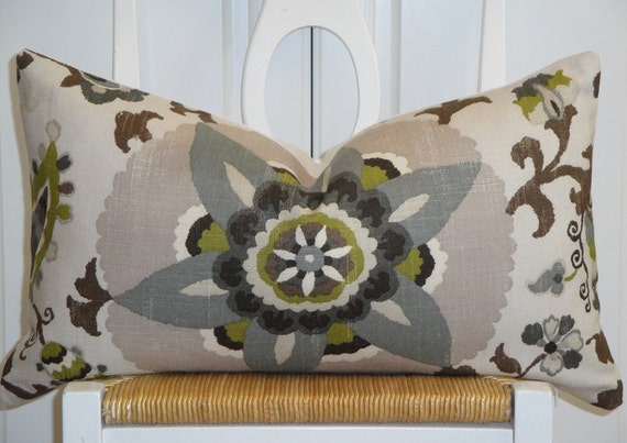 Steel Blue Throw Pillows : Items similar to Beautiful Decorative Pillow Cover - Floral - Suzani - Steel Blue - Olive Green ...