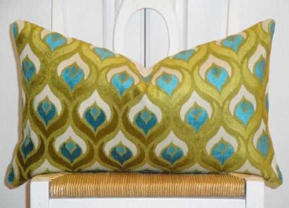 Decorative Pillow Cover - 12 x 20 - Accent Pillow - Throw Pillow - Lumbar Pillow - Teal/Blue - Olive Green - Peacock