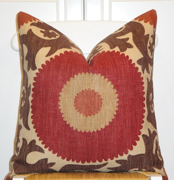 Decorative Pillow Cover Suzani Brown Dark Red Rust