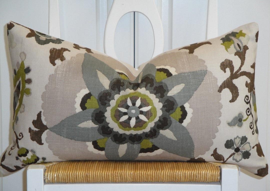 Beautiful Decorative Throw Pillows : Beautiful Decorative Pillow Cover Floral Suzani Steel