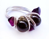 Garnet Wire Wrapped Silver Ring