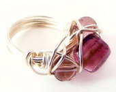 Ring Silver Wire and Purple Glass CodeR9