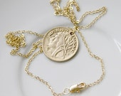 Republique Francaise Necklace with Gold Plated French Coin