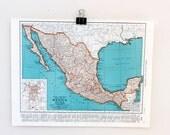 Vintage Mexico Map Rand McNally 1942 - Orange and Blue