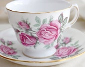 Vintage Mossy Pink Rose Royal Vale Teacup and Saucer