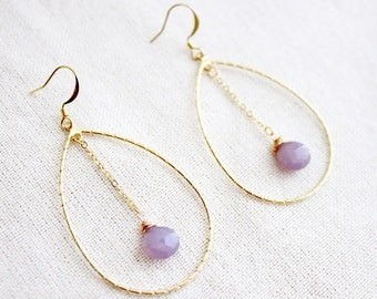 Romantic Chalcedony Wire-Wrapped Dangle Earrings in Gold