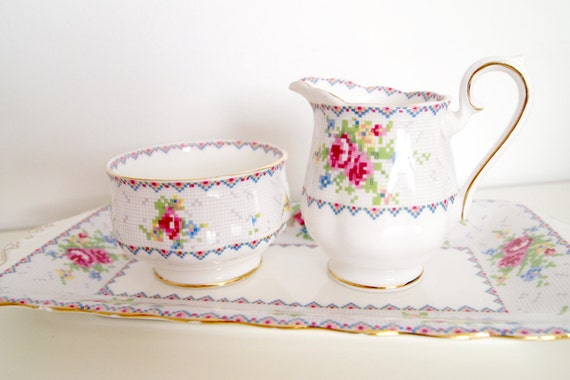 Royal Albert Sugar, Creamer, and Tray Set in Petit Point Bone China from England with Pink and Blue Flowers