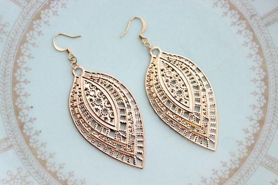 Exotic Long Gold Earrings