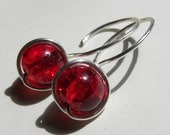 Simplicity Collection - Handmade earrings - Sparkling cherry red drops in sterling silver