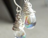 Elegance Collection - Handmade earrings - Wrapped iridescent drops
