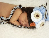 Baby Owl Hat with Earflaps Crochet Pattern (for boy or girl)
