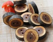 SALE - - - set of 12 CHERRY PLUM wooden buttons handmade from a tree branch wood... 2 holes... 1 inches