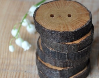 wood buttons •  set of 4 Hornbeam wooden buttons handcrafted and handmade from a tree branch wood