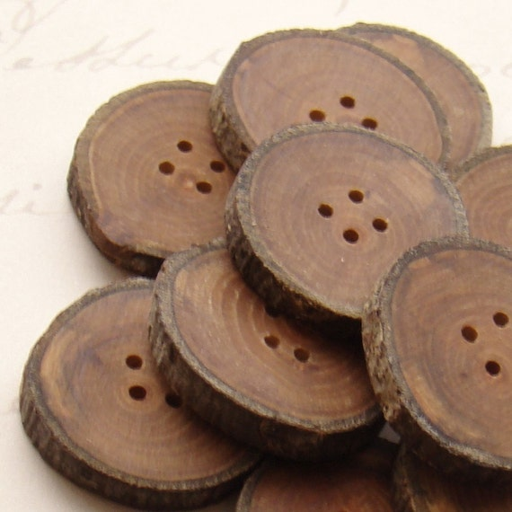 set of 12 APPLE wooden buttons handmade from a tree branch wood...ooak... 4 holes... 1.1 inches